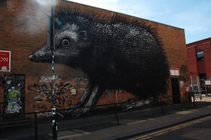 London, Chance Street, graffiti by ROA
